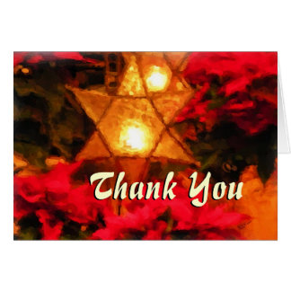 Star Luminaria Red Poinsettia Thank You Cards