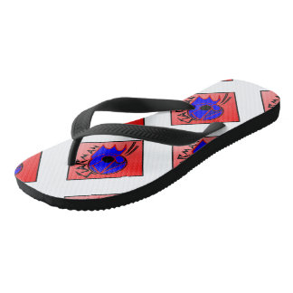 Star-man text with image red, black & blue flip fl flip flops