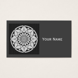 Star Mandala knitting black & white Business Card