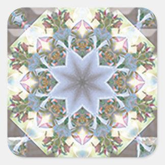 Star Mandala Square Stickers/Lavender Square Sticker