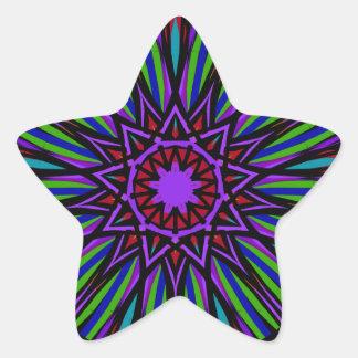 Star mandala sticker. Bright purples, greens. Star Sticker