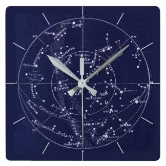 STAR MAP | Vintage deep blue night sky Square Wall Clock