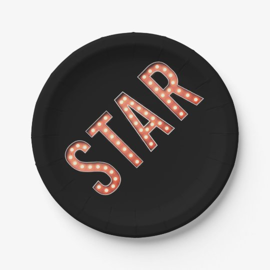 STAR Marquee Lights Paper Plate