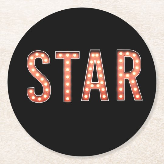 STAR Marquee Lights Round Paper Coaster