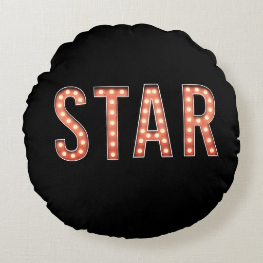 STAR Marquee Lights Round Pillow