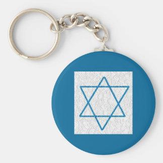 Star of Davi Basic Round Button Keychain