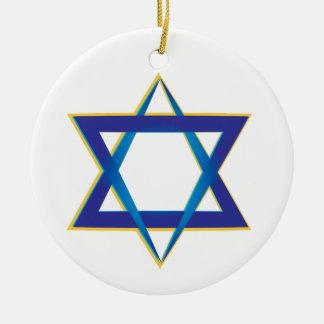Star Of David 1 Round Ceramic Ornament