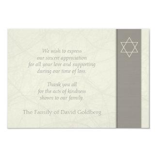 """Star of David 2 Sympathy Thank You Flat Card 3.5"""" X 5"""" Invitation Card"""