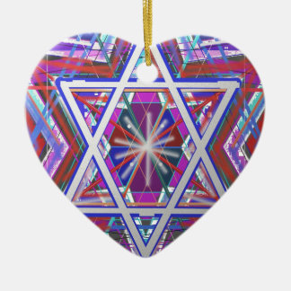 Star of David,... a blend of colors. Ceramic Heart Ornament