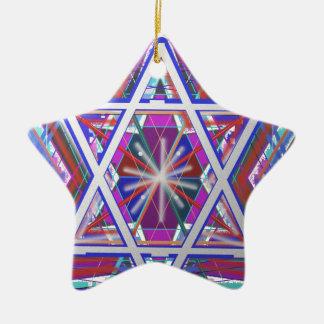 Star of David,... a blend of colors. Ceramic Star Ornament