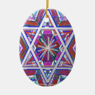 Star of David,... a blend of colors. Double-Sided Oval Ceramic Christmas Ornament