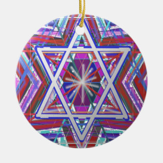 Star of David,... a blend of colors. Round Ceramic Ornament