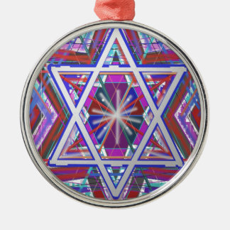 Star of David,... a blend of colors. Silver-Colored Round Ornament