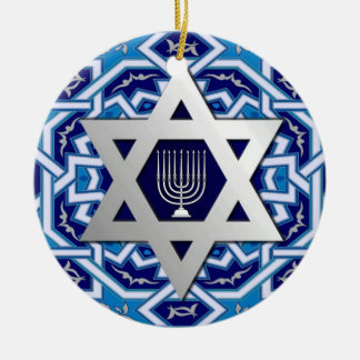 Star of David and Menorah Design Hanukkah Ornament