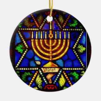 STAR OF DAVID AND MENORAH ROUND CERAMIC ORNAMENT