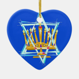 Star of David and the Menorah Ceramic Heart Ornament