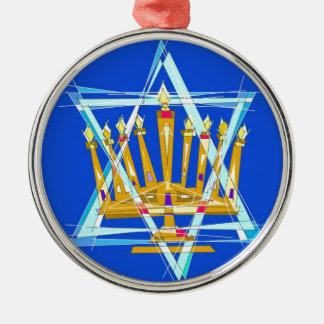 Star of David and the Menorah Silver-Colored Round Ornament