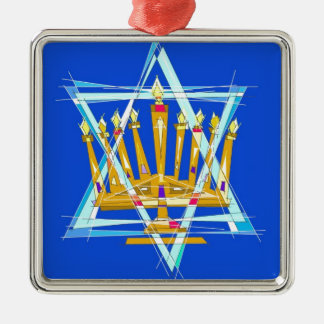 Star of David and the Menorah Silver-Colored Square Ornament