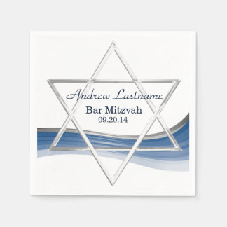 Star of David Bar Mitzvah Blue and Silver Paper Napkins