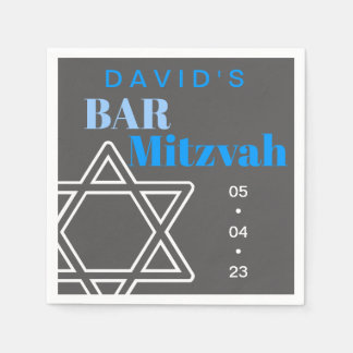 Star of David Bar Mitzvah Custom Paper Napkin