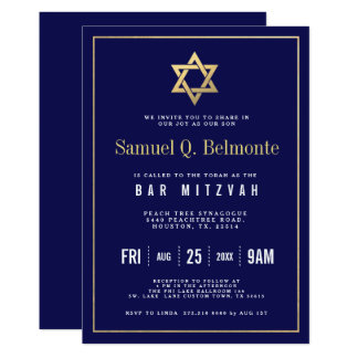 Star of David Bar Mitzvah Navy Invite w Address