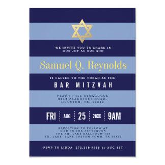 Star of David Bar Mitzvah Striped Invitations