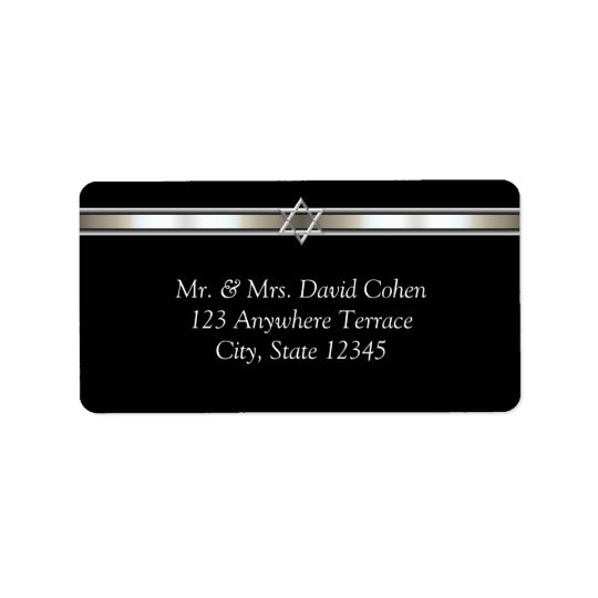 Star of David Black Address Labels