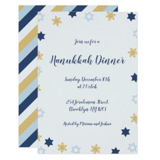 Star of David | Blue and Gold  Hanukkah Dinner Card