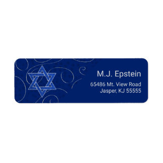 Star of David Blue Swirl with Name Return Address Label
