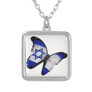 Star of David Butterfly Silver Plated Necklace