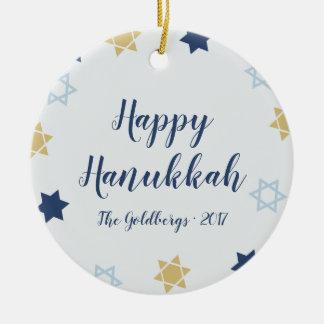 Star of David | Cute Hanukkah Blue and Gold Ceramic Ornament