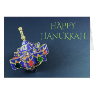 Star of David enameled dreidel Hanukkah card