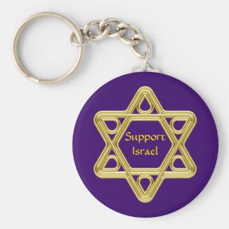 Star of David Gold Basic Round Button Keychain