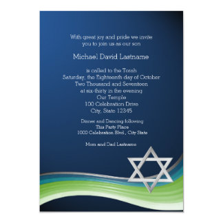 "Star of David Green and Blue Gradient Bar Mitzvah 5"" X 7"" Invitation Card"