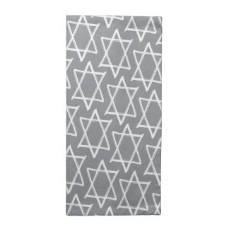 Star of David Hanukkah Pattern Napkins – Gray