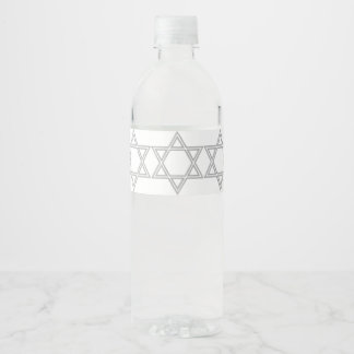 Star of David Hanukkah Water Bottle Label