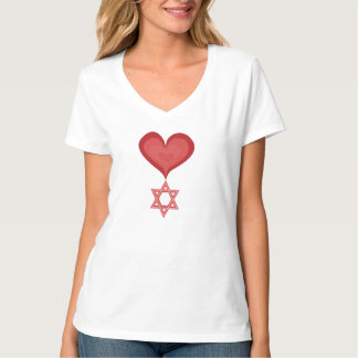 Star of David Heart Art Cotton Shirt by Kevin Shea