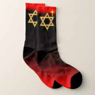 Star of David in Gold on Red and Black Socks 1