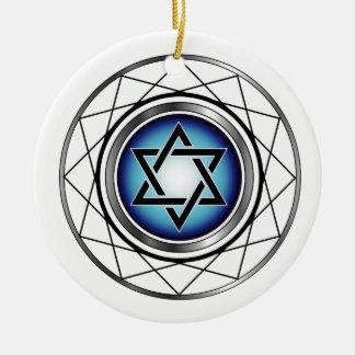Star of David- Jewish religious symbol Round Ceramic Ornament