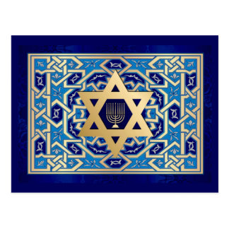 Star of David & Menorah Hanukkah Postcards