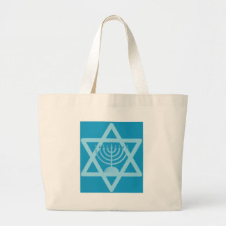 Star of David Menorah Large Tote Bag