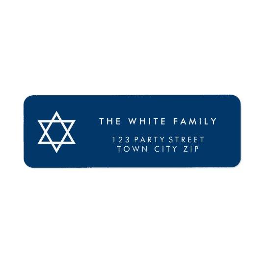 STAR OF DAVID modern plain simple navy blue white