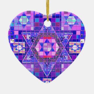 Star of David mosaic Ceramic Heart Ornament