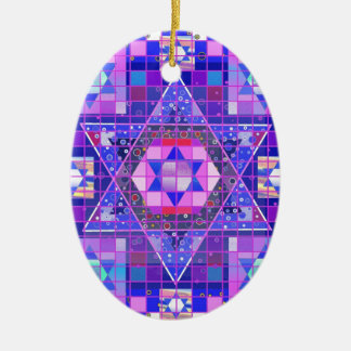 Star of David mosaic Ceramic Oval Ornament