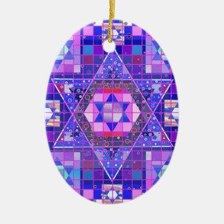 Star of David mosaic Ceramic Oval Ornament