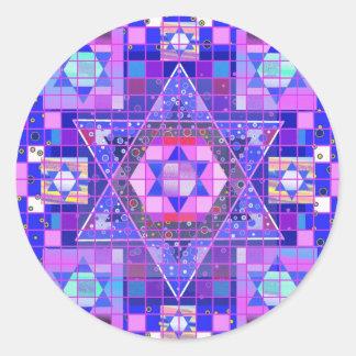 Star of David mosaic Classic Round Sticker