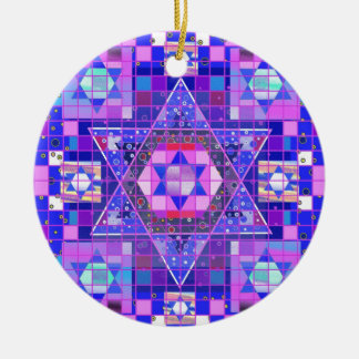 Star of David mosaic Round Ceramic Ornament