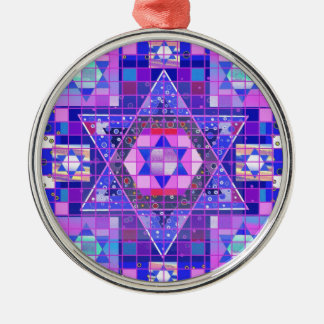 Star of David mosaic Silver-Colored Round Ornament