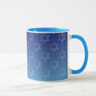 Star of David on blue background Mug