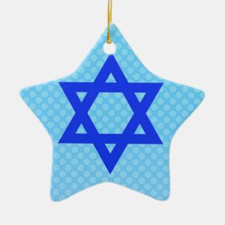 Star of David on blue polka dots. Ceramic Star Ornament